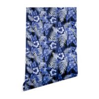 Deny Designs Schatzi Brown Hula Hibiscus 2-Foot x 8-Foot Peel and Stick Wallpaper in Dark Blue