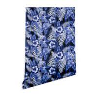 Deny Designs Schatzi Brown Hula Hibiscus 2-Foot x 10-Foot Peel and Stick Wallpaper in Dark Blue