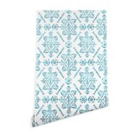 Deny Designs Schatzi Brown Reeve Pattern 2-Foot x 10-Foot Peel and Stick Wallpaper in Aqua