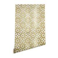 Deny Designs Schatzi Brown Hara Tiles Golden 2-Foot x 8-Foot Peel and Stick Wallpaper
