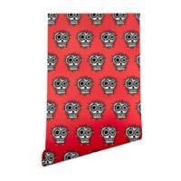 Deny Designs Andi Bird Sugar Skull Fun Red 2-Foot x 8-Foot Peel and Stick Wallpaper