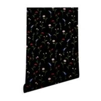 Deny Designs Gabriela Fuente Night Bloom 2-Foot x 10-Foot Peel and Stick Wallpaper in Black