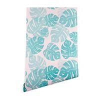 Deny Designs Bianca Green Linocut Monstera Pastel 2-Foot x 4-Foot Peel and Stick Wallpaper