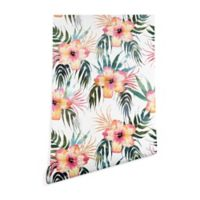 Deny Designs Schatzi Brown Honolua Tropical 2-Foot x 8-Foot Wallpaper in Pink