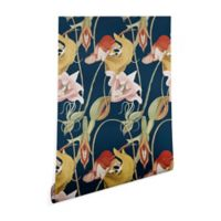 Deny Designs Cayena Blanca Orchid Dance 2-Foot x 8-Foot Wallpaper in Blue