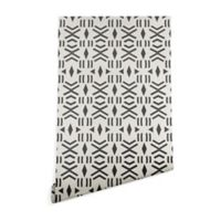 Deny Designs Holli Zollinger Geo Mudcloth 2-Foot x 8-Foot Wallpaper in Black
