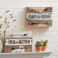 Romantic Arrows 8-Inch x 6-Inch Reclaimed Wood Wall Sign