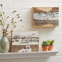 Family Story 6-Inch x 8-Inch Reclaimed Wood Wall Sign