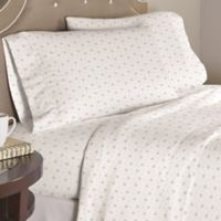 Pointehaven Stars Dance 200-Thread-Count Full Sheet Set in White/Grey