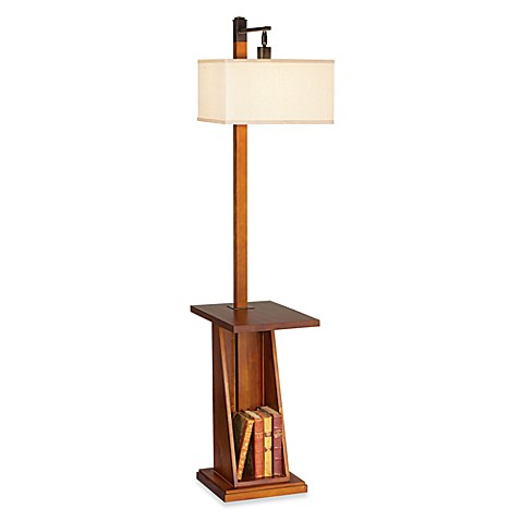 pacific coast lighting astor place floor lamp with tray and shelf in walnut bed bath beyond. Black Bedroom Furniture Sets. Home Design Ideas