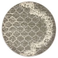Baltimore Trellis 6' Round Area Rug in Light Grey