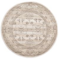 Unique Loom Botanica La Jolla 6' Round Powerloomed Area Rug in Ivory