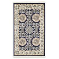 Unique Loom Brighton Nain Design 3' X 5' Powerloomed Area Rug in Navy