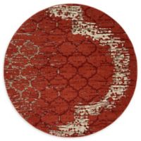 Unique Loom Baltimore Trellis 6' Round Powerloomed Area Rug in Terracotta