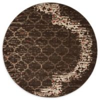 Unique Loom Baltimore Trellis 6' Round Power-Loomed Area Rug in Brown