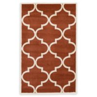 Unique Loom Austin 3'3 x 5'3 Trellis Area Rug in Rust Red