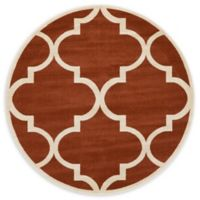 Unique Loom Austin 6' Round Trellis Area Rug in Rust Red