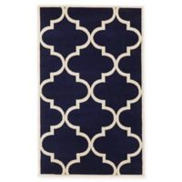 Unique Loom 3-Foot 3-Inch x 5-Foot 3-Inch Trellis Accent Rug in Navy Blue
