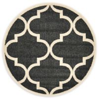 "Unique Loom Austin 3'3"" Round Trellis Accent Rug in Black"