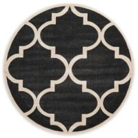 Unique Loom Austin 6' Round Trellis Area Rug in Black