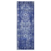 Unique Loom Bouquet Heritage 6' Runner Powerloomed in Royal Blue