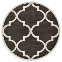 Unique Loom Austin Trellis 6' Round Powerloomed Area Rug in Brown