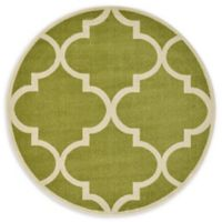 Unique Loom Austin Trellis 6' Round Powerloomed Area Rug in Green