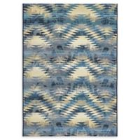 Unique Loom Aztec Eden Outdoor 4' X 6' Powerloomed Area Rug in Blue