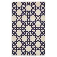 Unique Loom Charlotte Trellis 3' X 5' Powerloomed Area Rug in Beige/navy