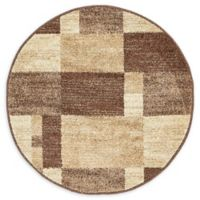 Unique Loom Harvest Providence 3' Round Powerloomed Area Rug in Light Brown