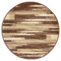 Unique Loom Harvest Wheat 3' Round Powerloomed Area Rug in Brown