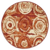 Unique Loom Harvest Wheat 3' Round Powerloomed Area Rug in Terracotta