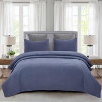Pebble Stone Full/Queen Quilt Set in Blue