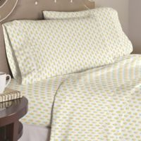 Pointehaven Pineapple 200-Thread-Count Twin Sheet Set in White/Yellow