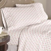 Pointehaven Flamingos 200-Thread-Count Sheet Set in White/Pink