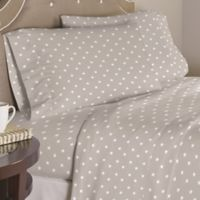 Pointehaven Grey Stars 200-Thread-Count Cotton Twin XL Sheet Set in Grey