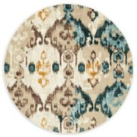 Unique Loom Ikat Mirage 6' Round Powerloomed Area Rug in Beige