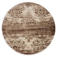 Unique Loom Himalaya Grant 5' Round Powerloomed Area Rug in Dark Beige