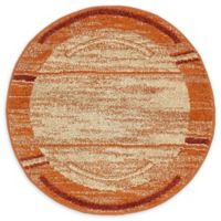 Unique Loom Harvest Foilage 3' Round Powerloomed Area Rug in Terracotta
