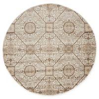 Unique Loom Himalaya Hamilton 5' Round Area Rug in Cream