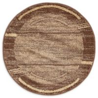Unique Loom Harvest Foilage 3' Round Powerloomed Area Rug in Brown