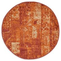 Unique Loom Harvest Plymouth 3' Round Powerloomed Area Rug in Terracotta
