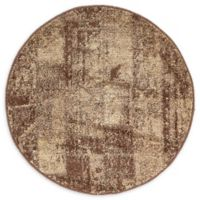 Unique Loom Harvest Plymouth 3' Round Powerloomed Area Rug in Brown