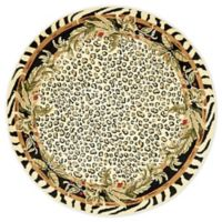 Unique Loom Jungle Safari 4' Round Powerloomed Area Rug in Cream