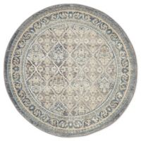 Unique Loom Kasern Salzburg 4' Round Powerloomed Area Rug in Gray