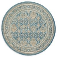 Unique Loom Kasern Salzburg 6' Round Powerloomed Area Rug in Light Blue