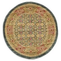 Unique Loom Jefferson Palace 3' Round Powerloomed Area Rug in Navy