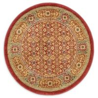 Unique Loom Jefferson Palace 3' Round Powerloomed Area Rug in Red