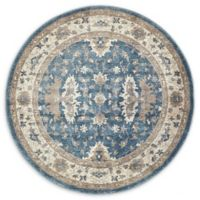 Unique Loom Itzling Salzburg 4' Round Powerloomed Area Rug in Light Blue