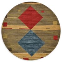 Unique Loom Kingston Nomad 6' Round Powerloomed Area Rug in Tan